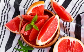 Обои тарелка, фрукты, грейпфрут, витамины, дольки