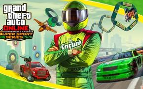 Обои костюм, gta online, Сан-Андреас, гонщик, машины, gta 5, Grand Theft Auto V, самолет, шлем