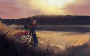 Картинка девушка, природа, объятия, мужчина