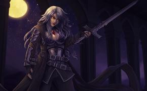 Картинка девушка, свет, ночь, луна, меч, вампир, полнолуние, moonlight, Magic the gathering