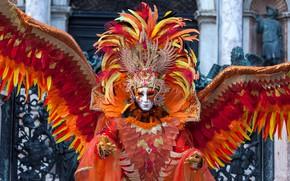 Картинка красный, крылья, перья, маска, костюм, карнавал