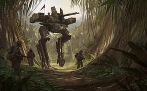 Картинка машина, оружие, джунгли, солдаты, Jungle Walker D