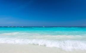 Картинка песок, море, волны, пляж, лето, небо, summer, beach, sky, sea, blue, seascape, sand, wave