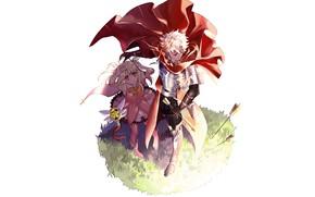 Картинка аниме, арт, девочка, парень, стрелы, персонажи, защитник, Fate Grand Order