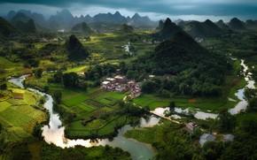Картинка горы, река, холмы, Китай