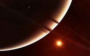 Обои вселенная, звезда, планета, спутник, кольца
