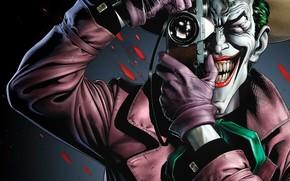 Картинка Улыбка, Фотоаппарат, Кровь, Джокер, Зубы, Перчатки, Шляпа, Комикс, Smile, Joker, Злодей, DC Comics, Hat, Gloves, …