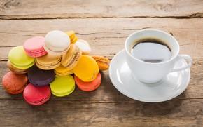 Картинка кофе, сладость, выпечка, пирожные, cakes, sweets, macaroons, pastries, макаруны