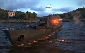 Картинка огонь, берег, корабль, мачта, project 186 soviet armored gunboat