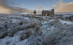 Картинка зима, поле, дом