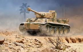 Обои Tiger I, Тяжёлый, Немецкий Африканский Корпус, DAK, Танк, Германия, арт, Pz.Kpfw.VI Ausf.H
