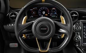 Обои McLaren 720S, Grey Gold, салон, руль, Limited Edition