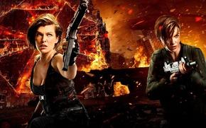 Обои огонь, фантастика, Милла Йовович, Ruby Rose, боевик, Resident Evil: The Final Chapter, искры, ужасы, Обитель ...