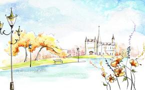 Обои осень, фантазия, акварель, озеро, рисунок, замок, живопись, деревья, парк, цветы