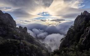 Картинка облака, горы, вершина, Китай, Аньхой