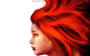 Картинка девушка, белый фон, рыжие волосы