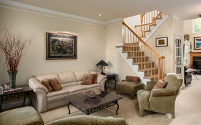 Картинка диван, картина, кресла, лестница, гостиная