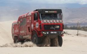 Картинка песок, грузовик, ралли, МАЗ