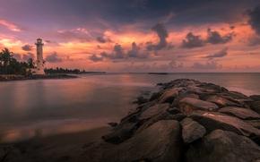 Картинка море, облака, маяк, остров, зарево, Шри-Ланка