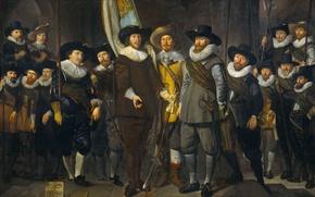 Обои Компания Капитана и Лейтенанта. Амстердам, Томас де Кейзер, масло, холст, картина, портрет
