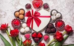 Обои valentine`s day, love, sweet, romantic, gift, chocolate, hearts, конфеты