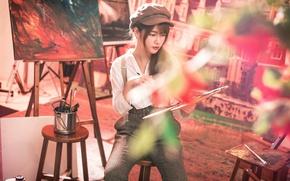 Картинка девушка, картина, художник