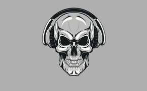 Обои череп, наушники, скелет, skull, минимализм