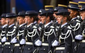 Обои строй, девушки, Parade, French army, Paris, оружие