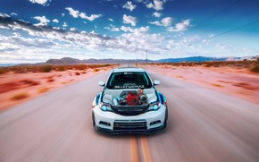 Обои Subaru, Impreza, Godzilla, pearl white, Billetworkz
