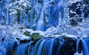 Картинка зима, снег, водопад, Канада, Альберта, Jasper National Park, Tangle Creek Falls