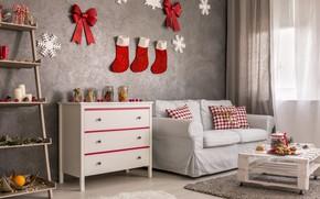 Картинка уют, стиль, комната, праздник, новый год, носки, декор