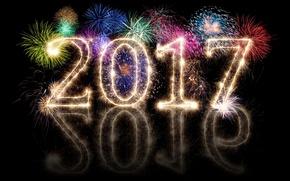 Картинка new year, happy, fireworks, 2017