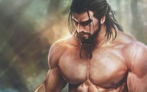Картинка грудь, тело, арт, мужчина, борода, мышцы