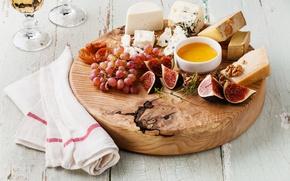 Картинка сыр, виноград, инжир, курага