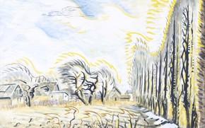 Картинка Charles Ephraim Burchfield, 1947-57, The Wind Harp, February Wind and Sunlight