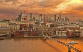 Картинка мост, река, Англия, Лондон, дома, Темза, Собор Святого Павла