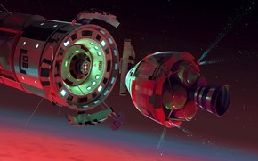 Картинка космос, звёзды, стыковка, Return, docking