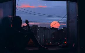 Обои city, dark, girl, twilight, smoking, sunset, barefoot, evening, sun, mood, window, cigarette, artist, digital art, ...