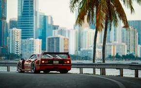 Обои F40, фотограф, Florida, город, Ferrari, утро, Маями, Larry Chen