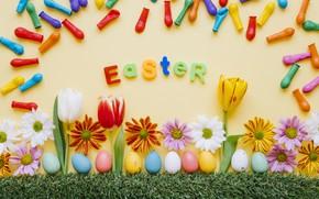 Картинка Цветы, Шары, Пасха, Яйца, Праздник