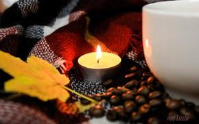 Картинка кофейные зерна, candle, warm, autmn, свеча. свечка