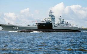 Картинка парад, дизельная подводная лодка, атомный ракетный крейсер