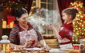 Картинка праздник, новый год, мама, веселье, дочь, мука