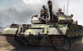 Картинка советский средний танк, Т-55АМ, Разработан в 1981 году, дополнительная броневая защита башни, Модернизация Т-55А