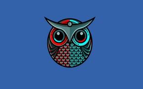 Обои сова, птица, синий, owl, минимализм