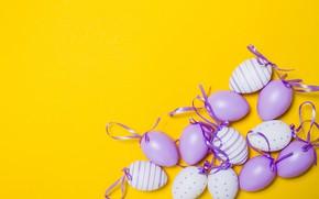 Картинка желтый, фон, праздник, яйца, пасха