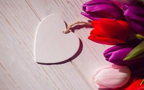 Картинка любовь, цветы, сердце, букет, colorful, тюльпаны, red, love, white, heart, wood, flowers, romantic, tulips, spring, ...