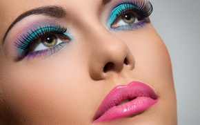Обои brunette, lips, make up