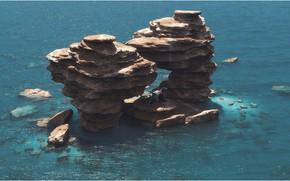 Обои скалы, островок, водоём, аппарат, Lunch Break