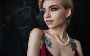 Картинка ожерелье, макияж, тату, жемчуг, губки, Вера Кублик